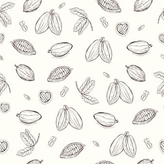 Cocoa and chocolate hand drawing seamless pattern background vector wallpaper