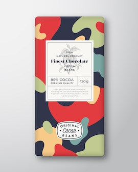 Cocoa chocolate label abstract shapes vector packaging design layout with realistic shadows modern t...