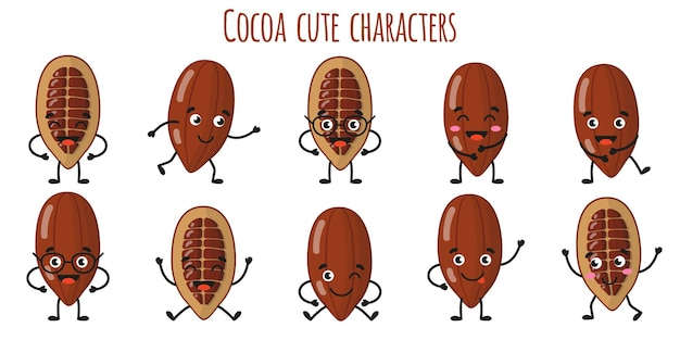 다른 포즈와 감정을 가진 코코아 과일 귀여운 재미 쾌활한 캐릭터. 천연 비타민 항산화 해독 식품 수집. 만화 격리 된 그림입니다.