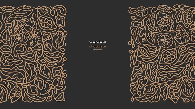 Какао золотая граница художественный образец линии графический мотив