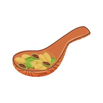 코코아 곡물 만화 일러스트 레이 션. 빵집 및 초콜릿 구성 요소, 뜨거운 향기로운 음료 성분 색상 개체. 흰색 배경에 나무로되는 숟가락에 신선한 익은 코코아 콩