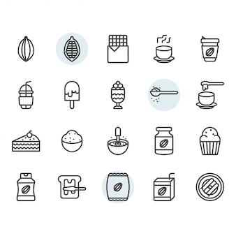 Cocoa icon and symbol set in outline