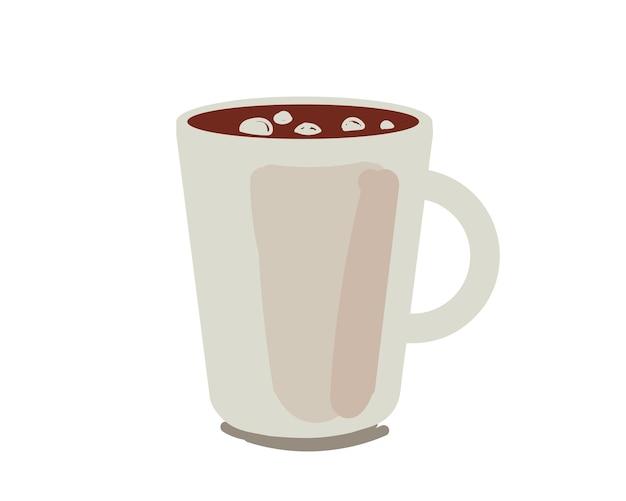마시멜로 또는 핫 초콜릿 컵 음료 유리 그리기 벡터가 격리된 코코아 우유 음료