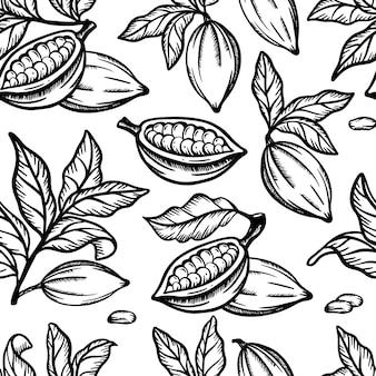 Cocoamonochromeフルーツビーンとテオブロマの木の枝のある葉モノクロパターン