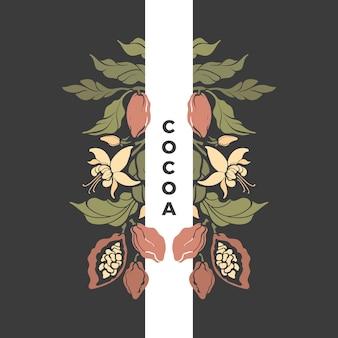 Образец какао. шоколадное дерево, боб, цветок. винтажная открытка. иллюстрация природы. художественный дизайн