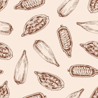 シードシームレスパターンのココアポッド。パステルピンクにチョコレート豆とカカオの芽