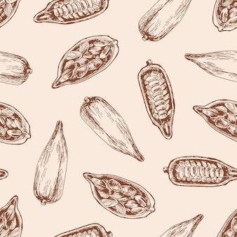 Cocoa pod with seeds seamless pattern. cacao sprout with chocolate beans on pastel pink