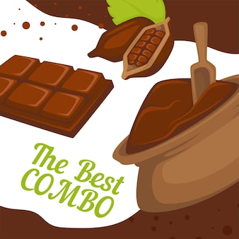 袋とチョコレートバーのココアパウダー。料理に最適な芳香成分の組み合わせ。デザートや美味しいおつまみ。プロモーションバナーまたはポスター、カフェまたはレストランの割引。フラットのベクトル