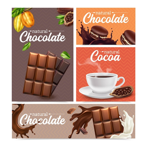 Cocoa realistic banners set of different types of chocolate