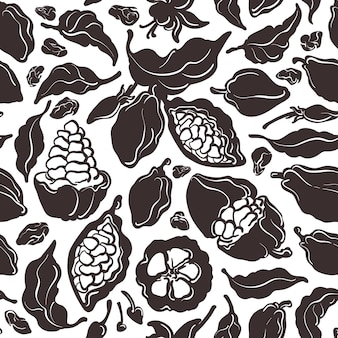 Cocoa seamless pattern. shape hand drawn illustration. sweet natural drink