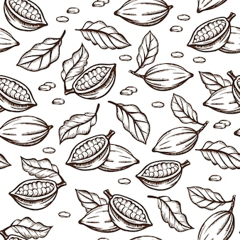 Cocoa sketchの種と葉のデザインは、白い背景に茶色の色で