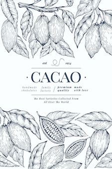 Cocoa  template. chocolate cocoa beans background.  hand drawn illustration. vintage style illustration.