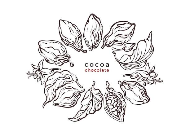 Символ текстуры какао ветка дерева шоколада фасоль фрукты графическая этикетка