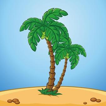 Coconouts tree beach illustration