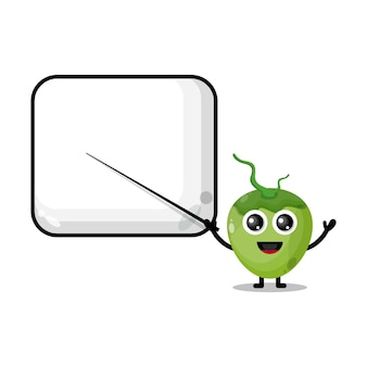 Coconut becomes a teacher cute character mascot