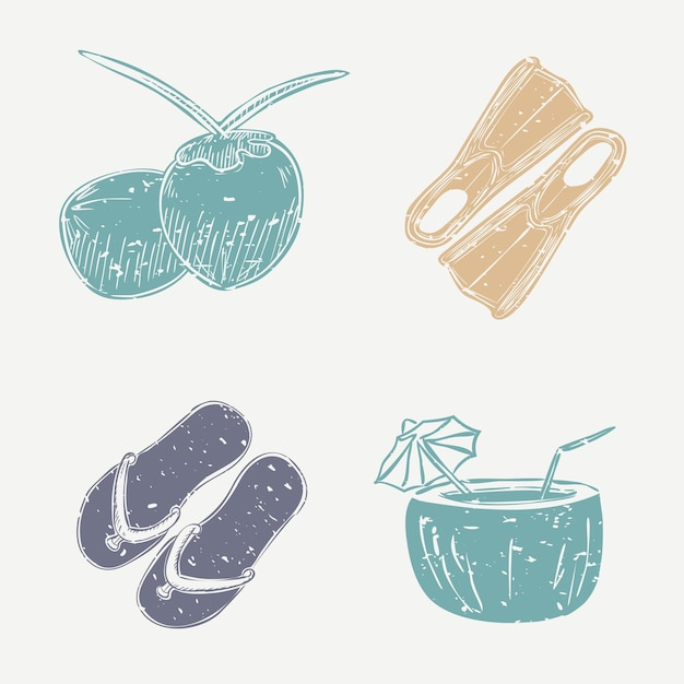코코넛 해변 벡터 귀여운 linocut 디자인 요소 세트