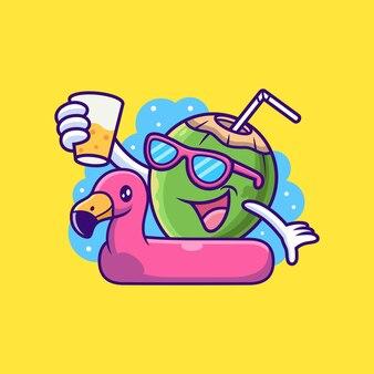 Кокосовый мультфильм на шинах фламинго. фрукты векторная иллюстрация значок, изолированных на премиум векторы