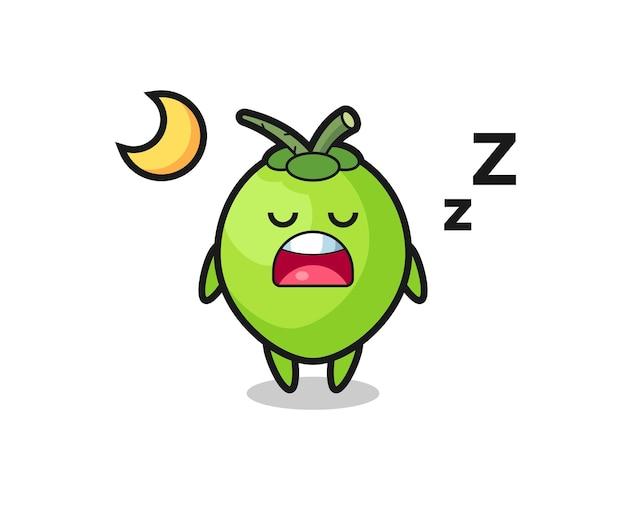 밤에 잠자는 코코넛 캐릭터 그림, 티셔츠, 스티커, 로고 요소를 위한 귀여운 스타일 디자인
