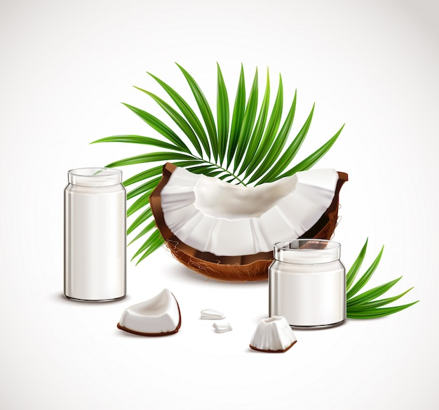 Coconut closeup realistic composition with nut segments white flesh pieces full glass jars milk palm leaves  illustration