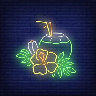Coconut cocktail neon sign. tropical drink and yellow flower with leaves.