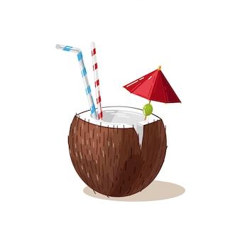 Coconut cocktail straw umbrella drink refreshment