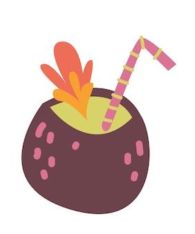 코코넛 칵테일, 벡터 재미있는 클립 아트. 흰색 배경에 고립. 유행하는 스타일과 색상