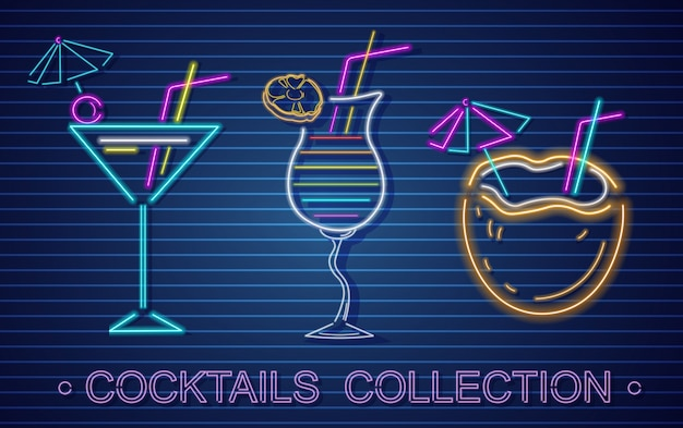 Coconut cocktails set neon