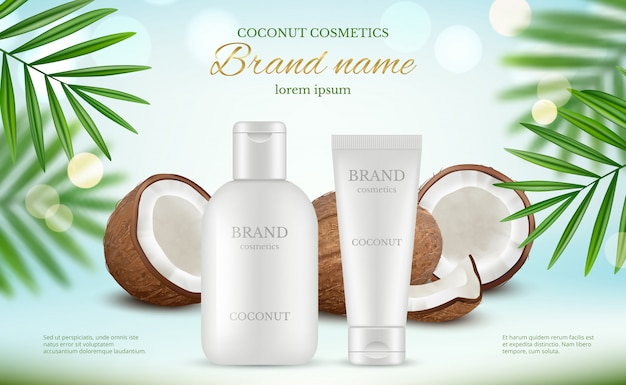 Coconut cosmetic. advertizing poster with cream tubes and fresh coco and natural body milk splashes realistic