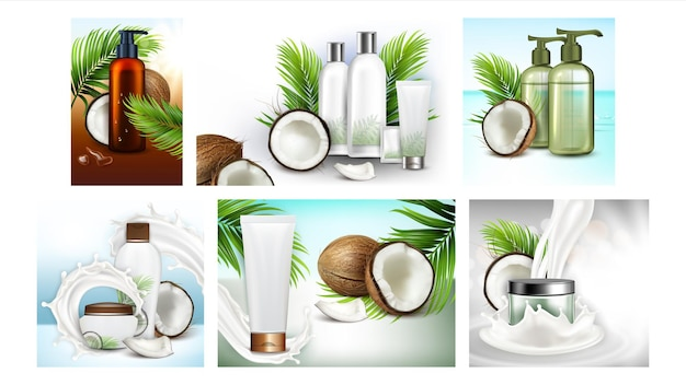 Coconut cosmetics promotion posters set vector. oil and shampoo blank bottles, face cream and hair mask tubes natural cosmetics collection advertising banners. color concept template illustrations