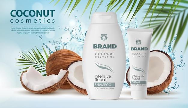 Кокосовая косметика, шампунь и упаковка крема в брызгах воды. вектор плоды кокосовой пальмы, ореховая скорлупа и зеленые листья. реалистичная 3d бутылка и тюбик натуральных средств для ухода за волосами, рекламный плакат