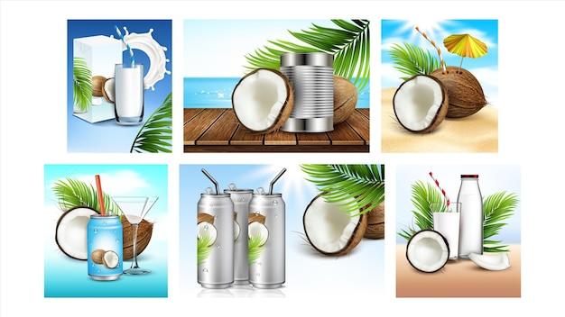 Кокосовый напиток творческие промо плакаты задать вектор. эко натуральная молочная жидкость и вода, пустые пакеты и стаканы, кокосовые орехи и экзотические ветви деревьев рекламируют баннеры. иллюстрация макета концепции стиля