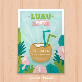 Coconut drink luau poster template