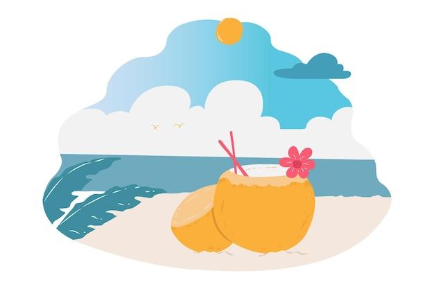 A coconut fresh drink on the beach