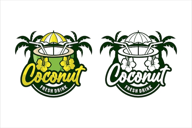 코코넛 신선한 음료 디자인 일러스트 로고