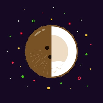 Coconut fruit sphere with half slice logo, flat design template concept