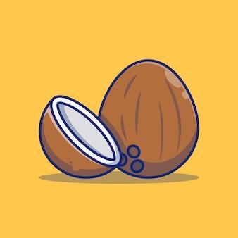 코코넛 과일 벡터 일러스트 디자인 프리미엄 개념