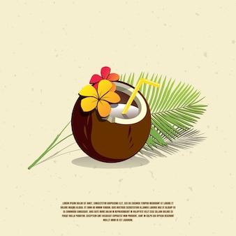 Кокосовая иллюстрация премиум