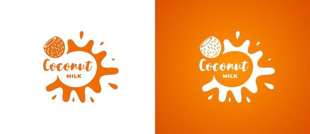 Логотип кокосового молочного продукта. свежий вегетарианский органический натуральный немолоченный дизайн логотипа бренда. коко веганский эко молочные продукты всплеск знак для компании товарный знак векторные eps иллюстрации