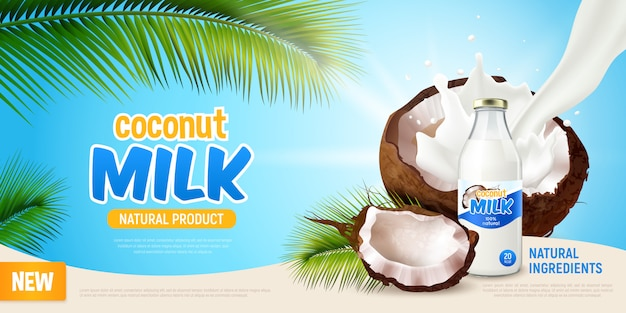 Кокосовое молоко реалистичный плакат с рекламой натурального продукта зеленые листья пальмы треснувшего кокоса и немолочного веганского молока в бутылке иллюстрации