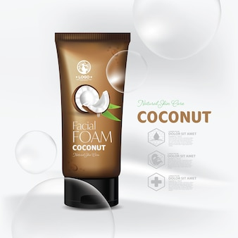Coconut natural skin care packaging design template
