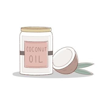 코코넛 오일. 귀엽고 심플한 아트 스타일.