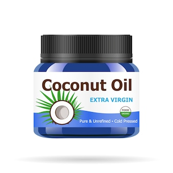 Coconut oil in realistic blue jar.
