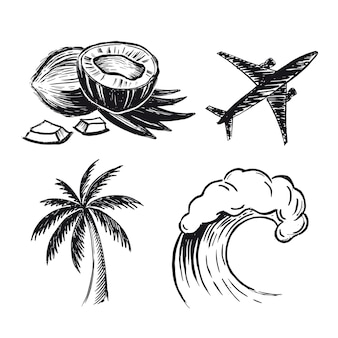 Кокосовая пальма самолет волна рисованной иллюстрации