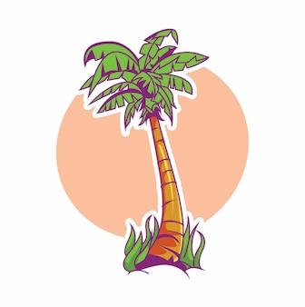 코코넛 야자수 그림 간단한 스타일