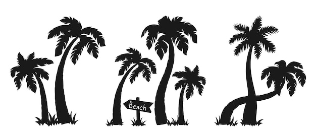 Coconut palm tree in island black silhouette set.