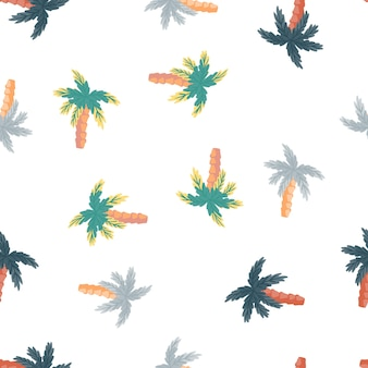 Кокосовая пальма формирует бесшовный образец в пастельных тонах. изолированный тропический орнамент. белый фон. предназначен для тканевого дизайна, текстильной печати, упаковки, обложки. векторная иллюстрация.
