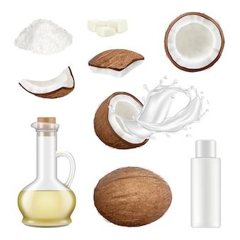 リアルなココナッツ。エキゾチックなヤシの木カット熱帯食品ココスドリンクベクトルイラスト。牛乳飲料、新鮮なココナッツ成分、オーガニックパームココミルク