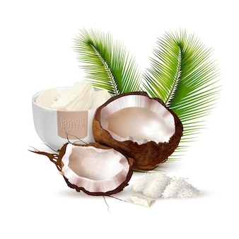 Coconut realistic illustration