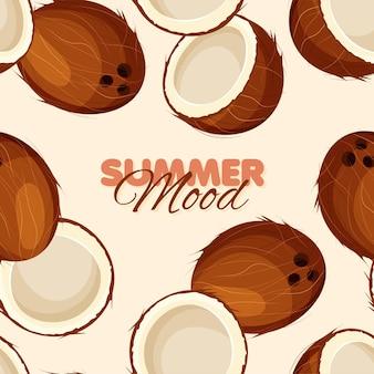 Кокосовый бесшовный фон шаблон летнего настроения