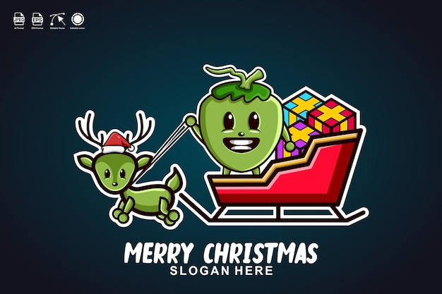 ココナッツそりライドメリークリスマスかわいいマスコットキャラクターロゴデザイン